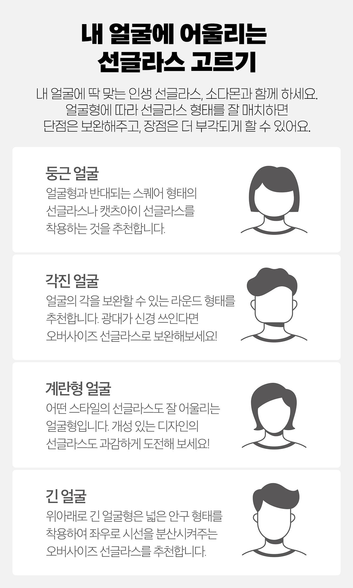 얼굴형별 선글라스 추천